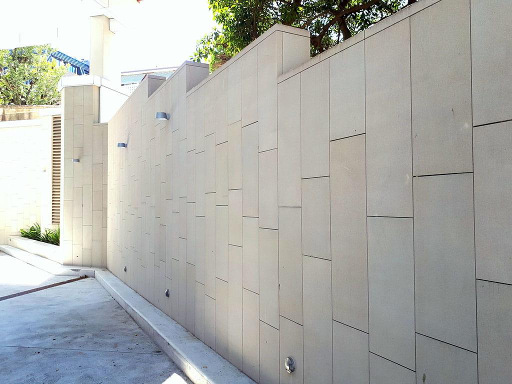 St Basils sandstone sawn wall
