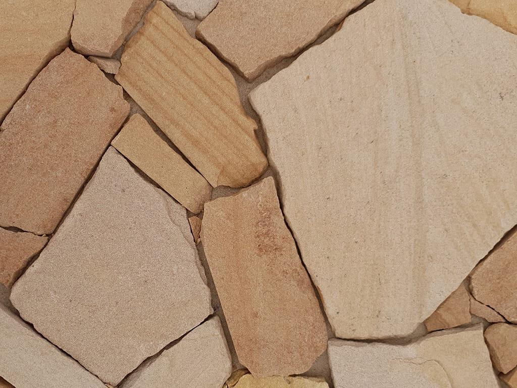 random irregular sandstone walling